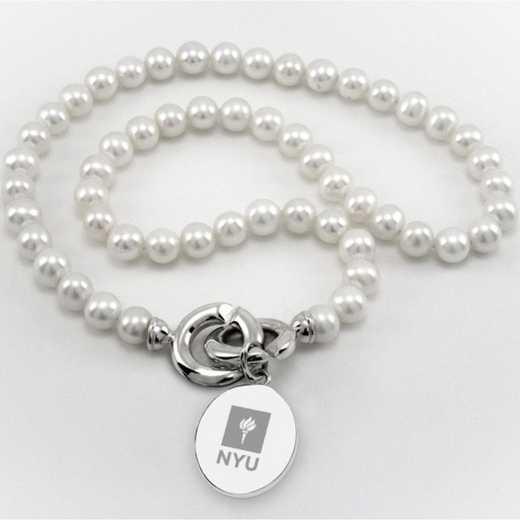 615789117292: NYU Pearl Necklace W/ SS Charm