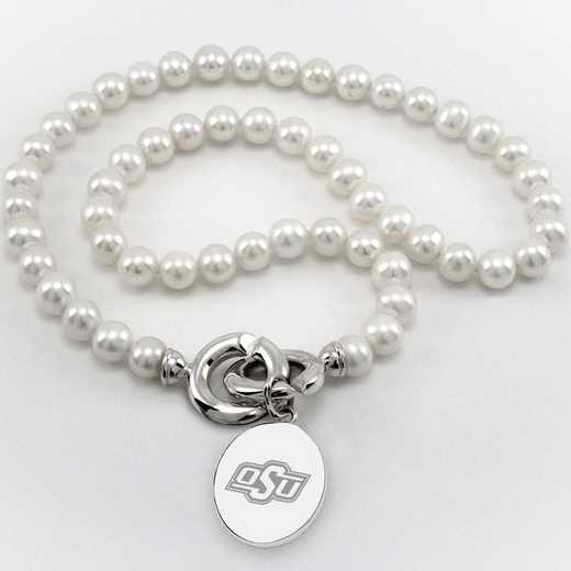 615789125730: Oklahoma ST UNIV Pearl Necklace W/ SS Charm