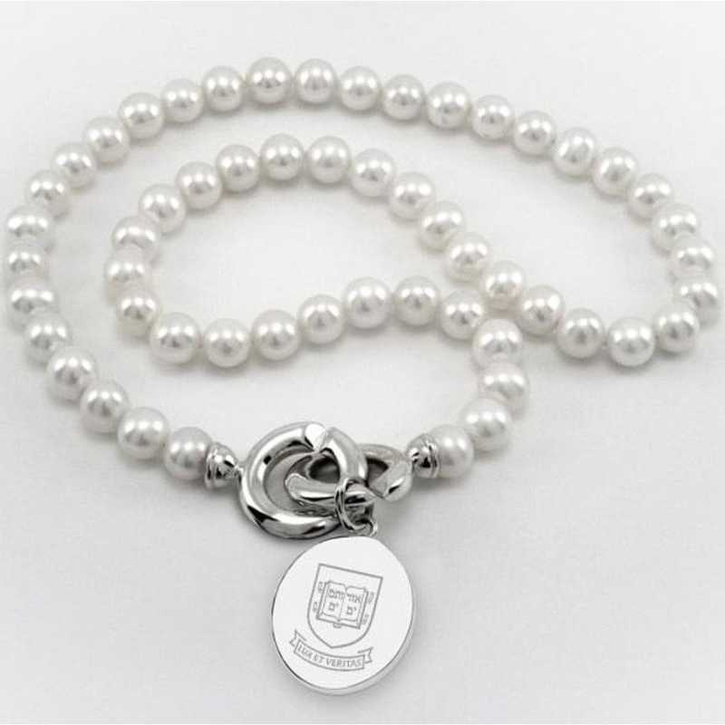 615789142669: Yale Pearl Necklace W/ SS Charm