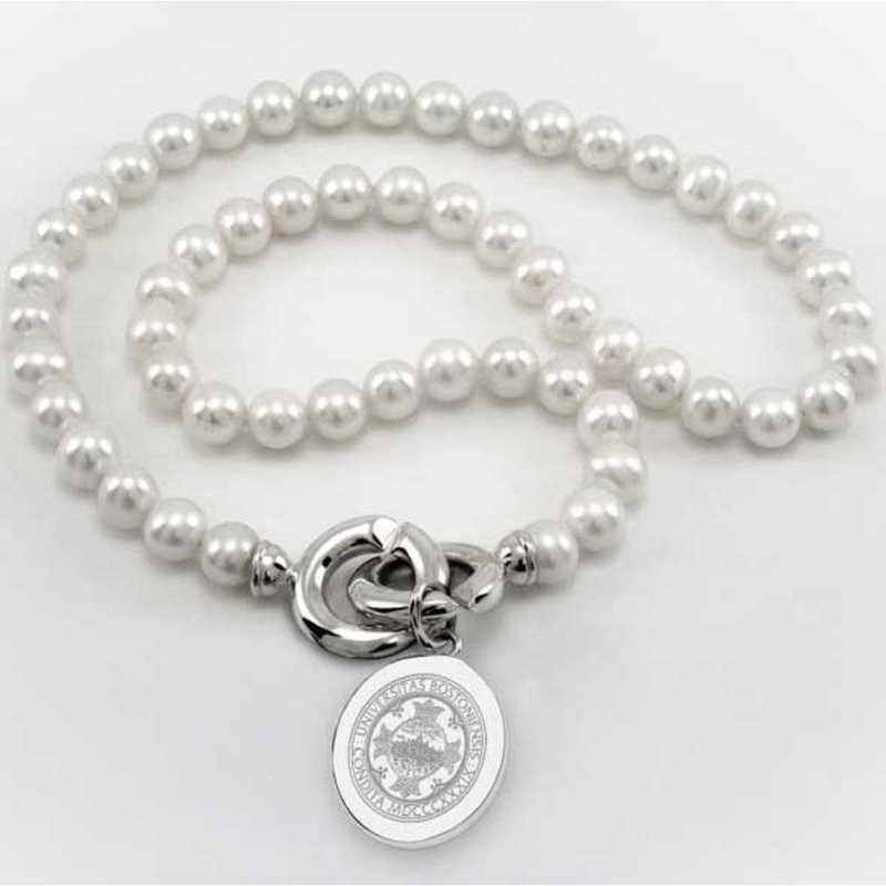 615789248149: Boston UNIV Pearl Necklace W/ SS Charm