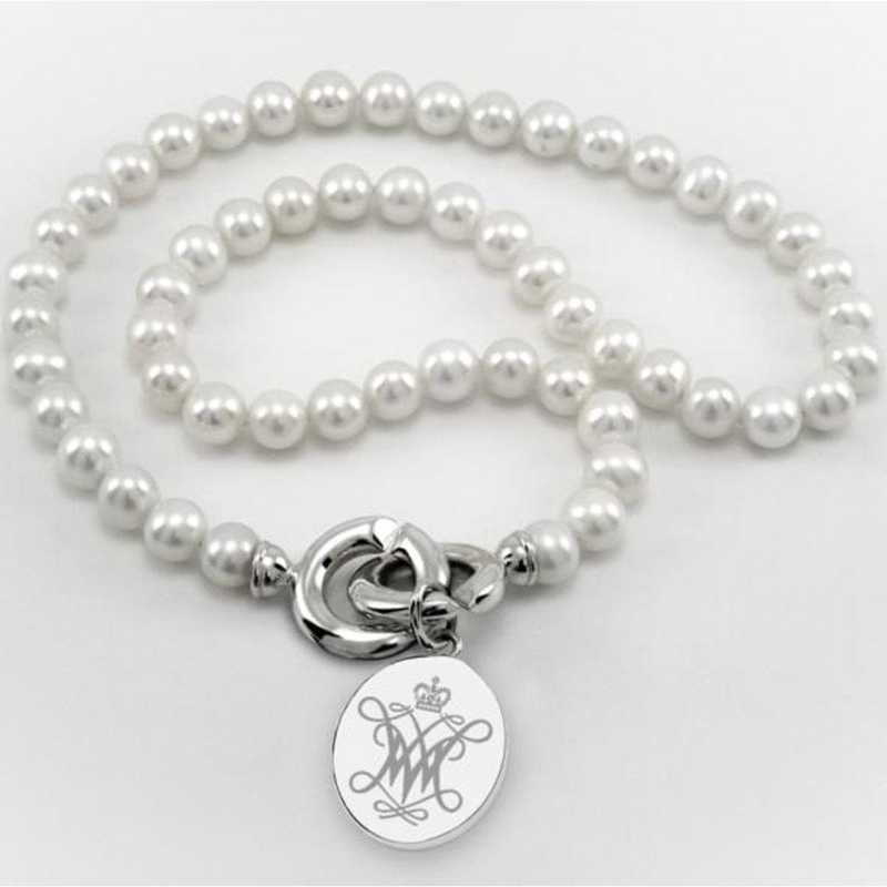 615789266976: William & Mary Pearl Necklace W/ SS Charm
