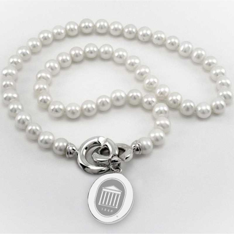 615789271314: Ole Miss Pearl Necklace W/ SS Charm
