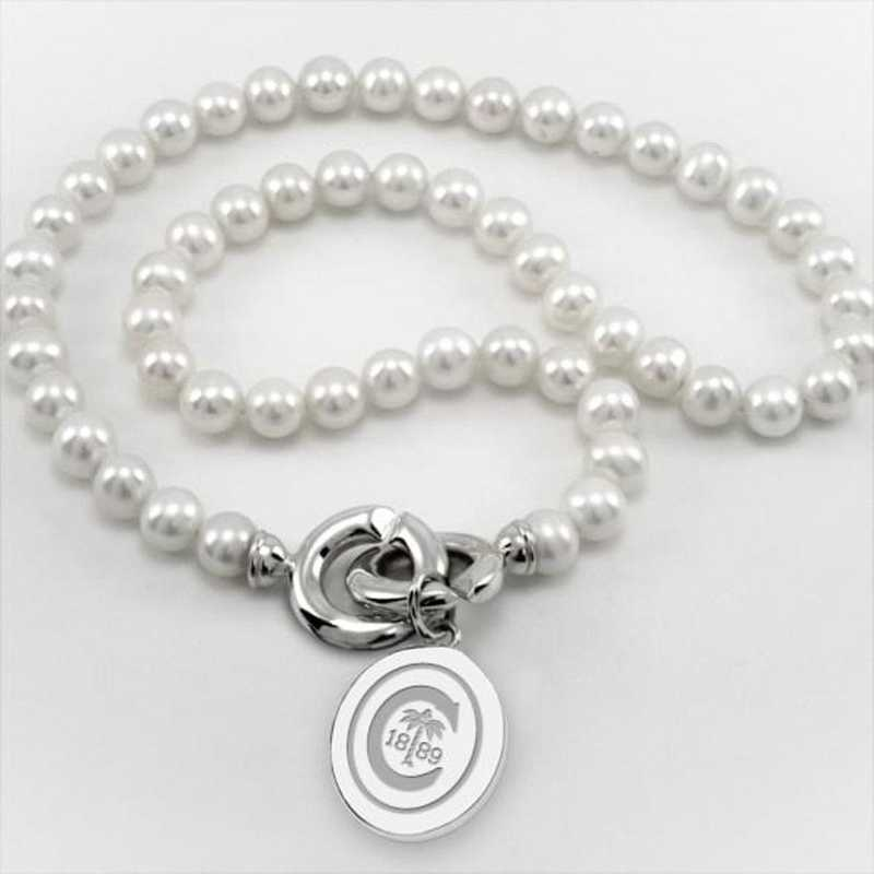 615789276487: Clemson Pearl Necklace W/ SS Charm