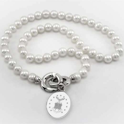 615789280224: Air Force Academy Pearl Necklace W/ SS Charm