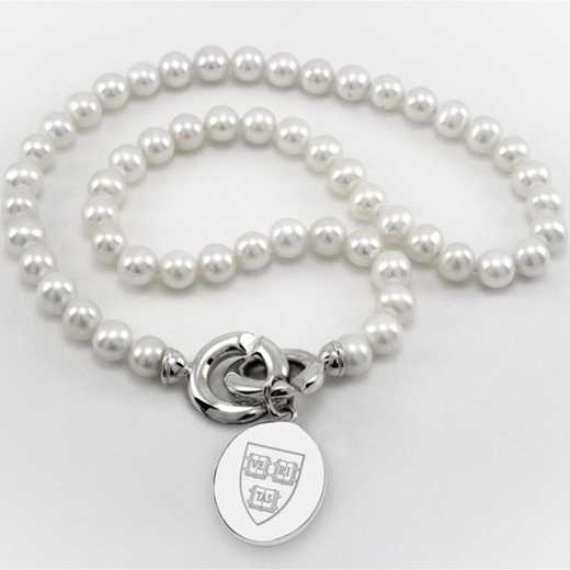 615789303596: Harvard Pearl Necklace W/ SS Charm