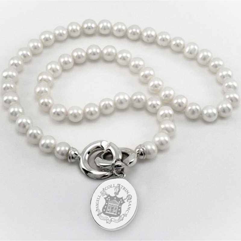 615789311218: Trinity College Pearl Necklace W/ SS Charm