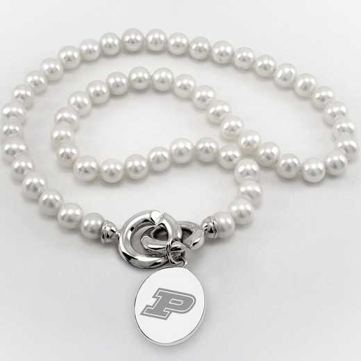 615789376965: Purdue UNIV Pearl Necklace W/ SS Charm
