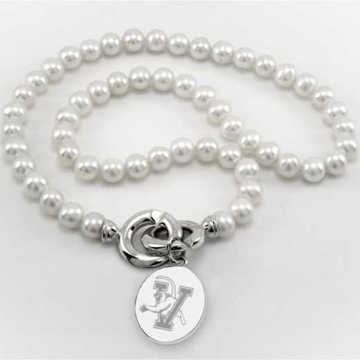 615789416951: UVM Pearl Necklace W/ SS Charm