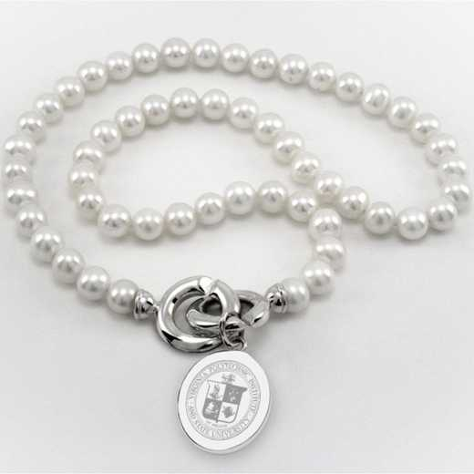 615789424567: Virginia Tech Pearl Necklace W/ SS Charm