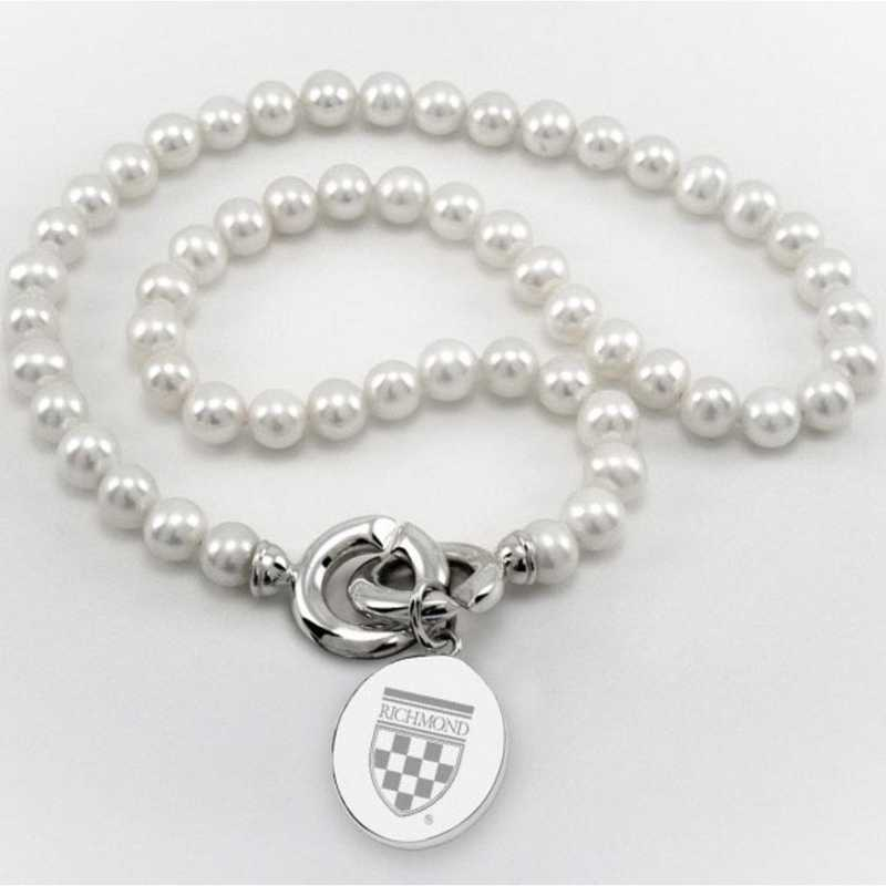 615789468011: UNIV of Richmond Pearl Necklace W/ SS Charm