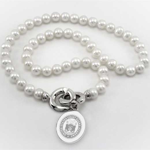 615789476580: Coast Guard Academy Pearl Necklace W/ SS Charm