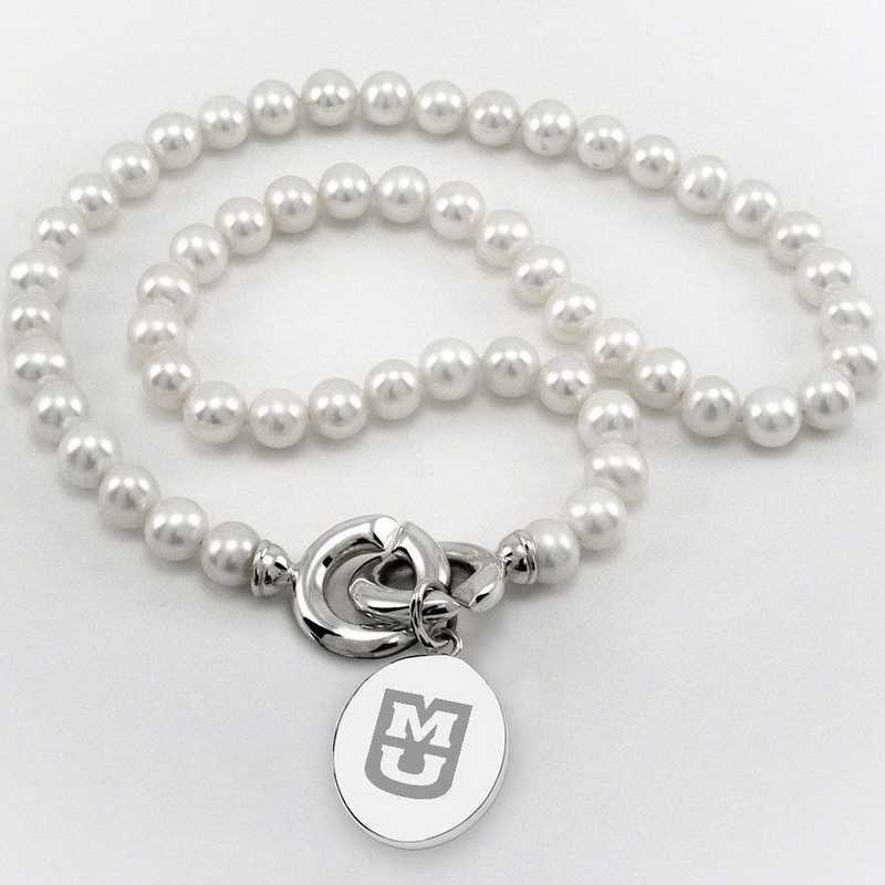 615789477136: UNIV of Missouri Pearl Necklace W/ SS Charm