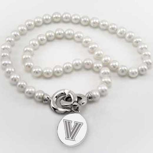 615789486176: Villanova Pearl Necklace W/ SS Charm