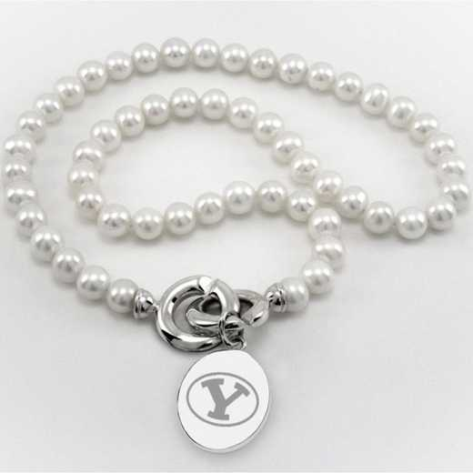 615789495390: Brigham Young UNIV Pearl Necklace W/ SS Charm