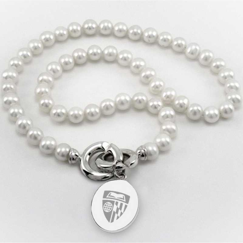 615789504740: Johns Hopkins Pearl Necklace W/ SS Charm