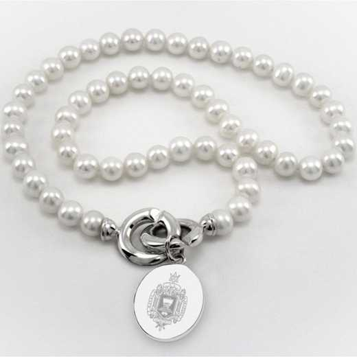 615789523826: Naval Academy Pearl Necklace W/ USNA SS Charm