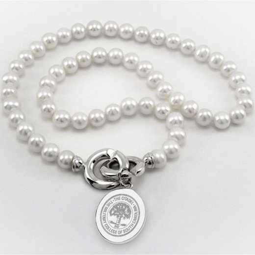 615789590194: Citadel Pearl Necklace W/ SS Charm