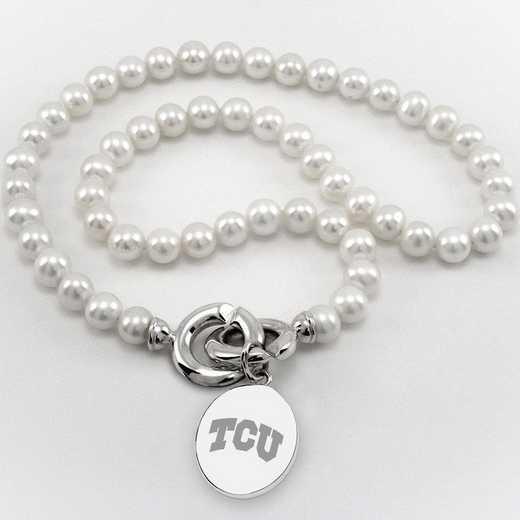 615789650454: TCU Pearl Necklace W/ SS Charm