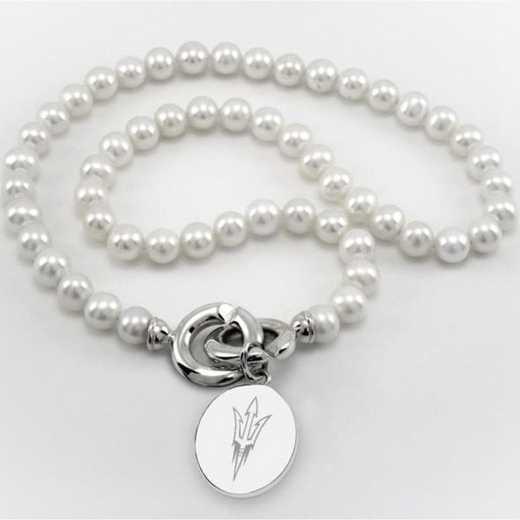 615789754503: Arizona ST Pearl Necklace W/ SS Charm