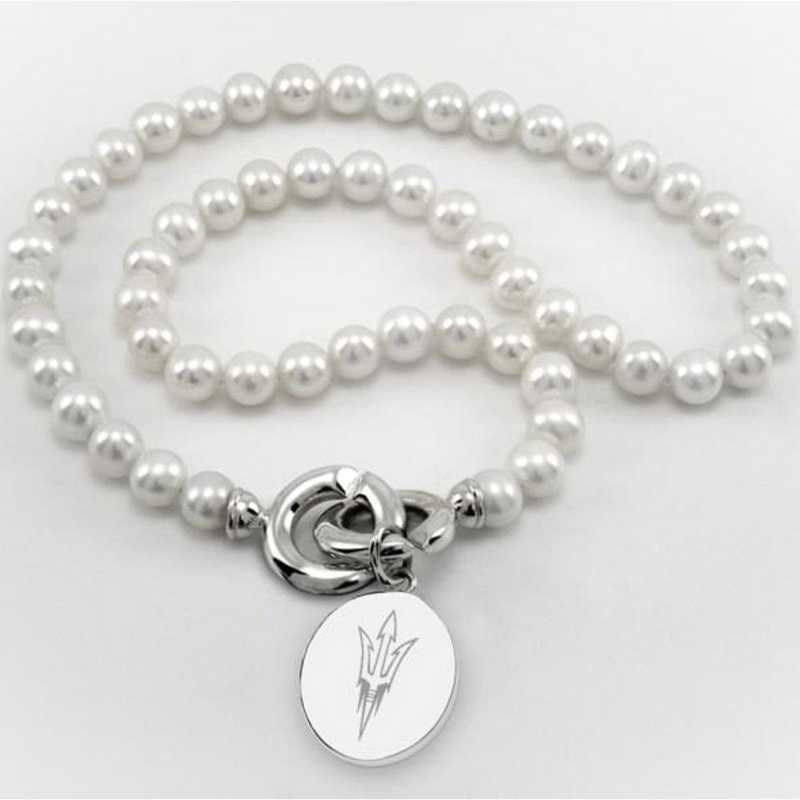 615789754503: Arizona ST Pearl Necklace W/ SS Charm