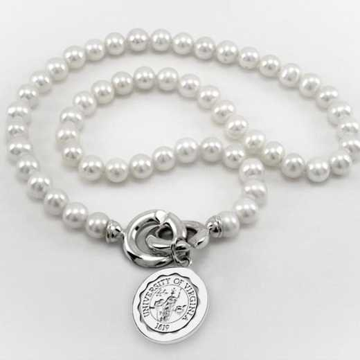 615789772323: UVA Pearl Necklace W/ SS Charm