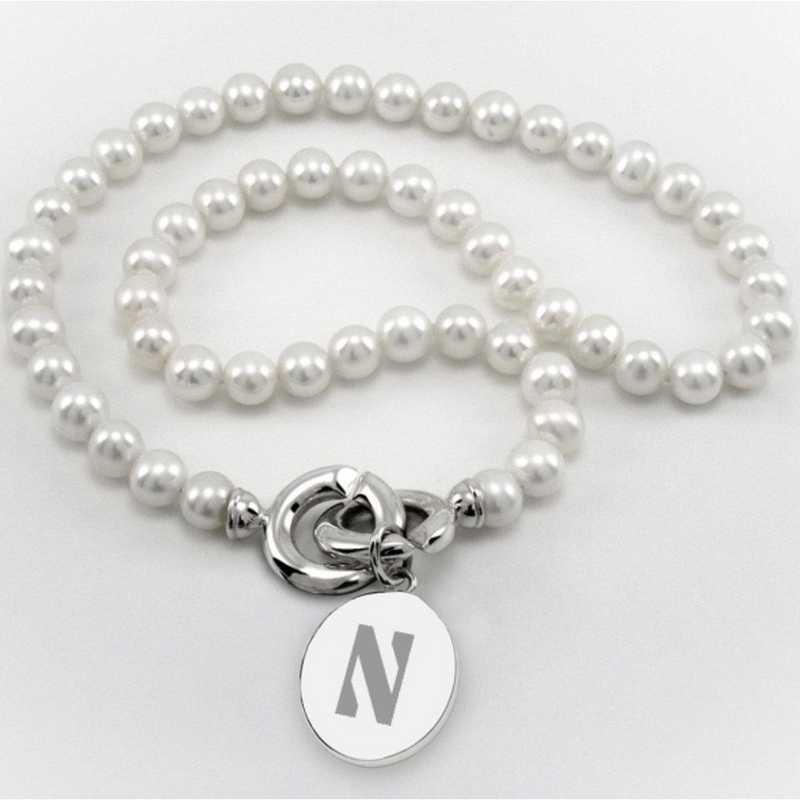 615789773917: Northwestern Pearl Necklace W/ SS Charm