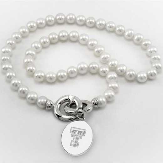 615789846000: Texas Tech Pearl Necklace W/ SS Charm