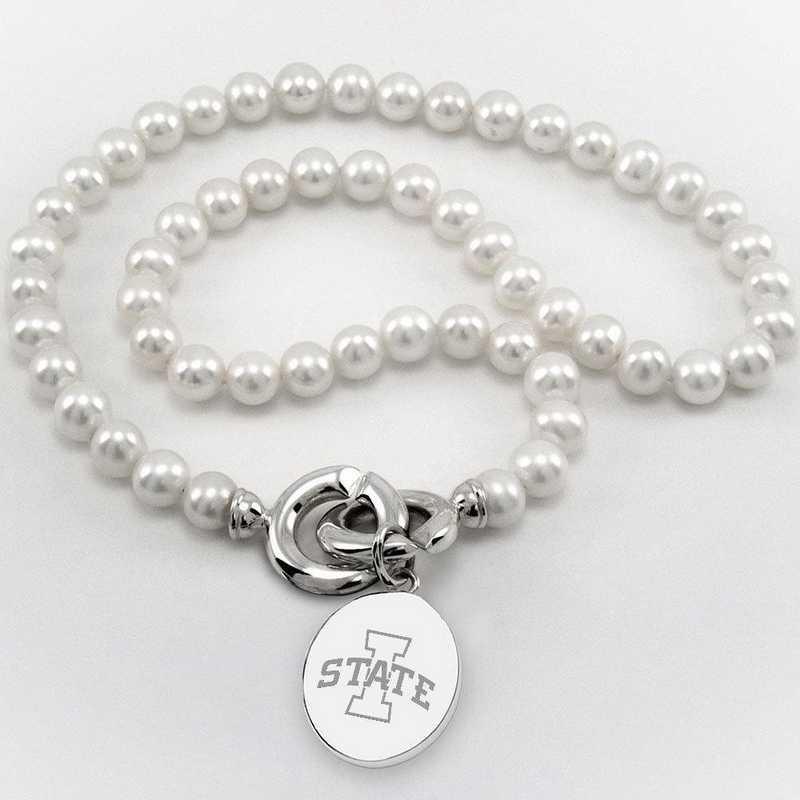 615789858393: Iowa ST UNIV Pearl Necklace W/ SS Charm