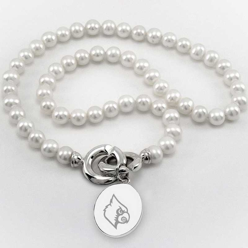 615789929093: UNIV of Louisville Pearl Necklace W/ SS Charm
