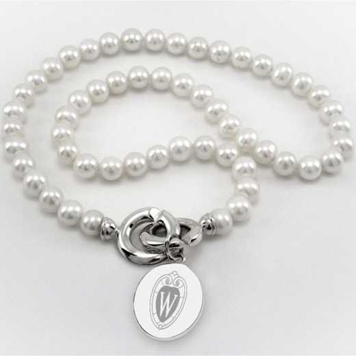 615789949527: Wisconsin Pearl Necklace W/ SS Charm