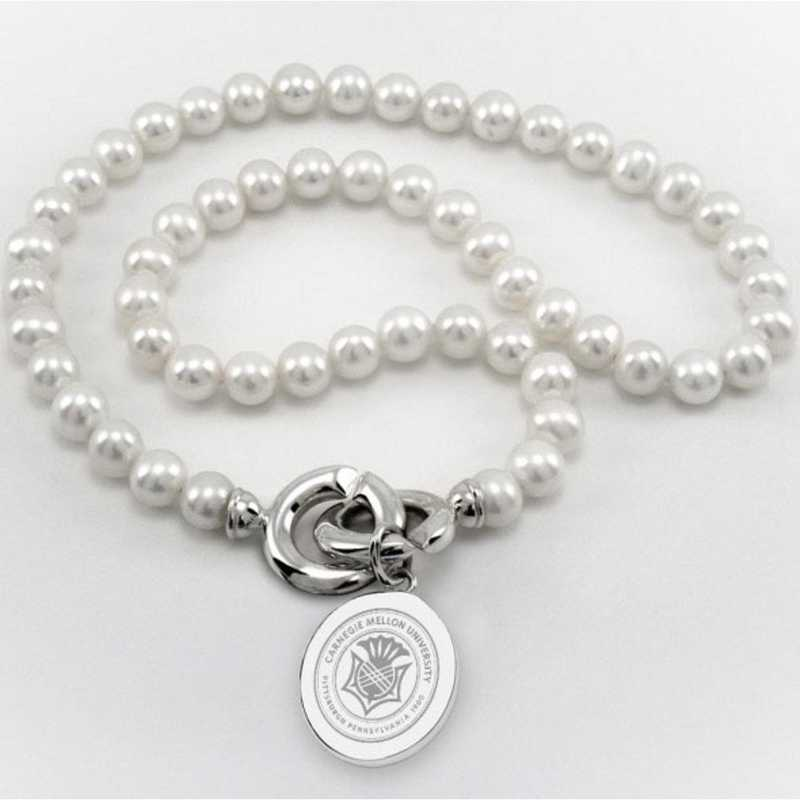 615789978961: Carnegie Mellon UNIV Pearl Necklace W/ SS Charm