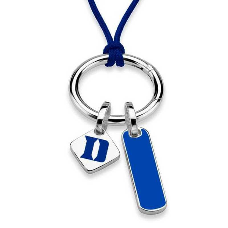 615789062929: Duke UNIV Silk Necklace W/ Enamel Charm & SS Tag
