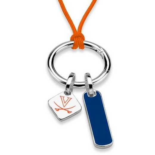 615789189633: UNIV of Virginia Silk Necklace W/ Enamel Charm & SS Tag