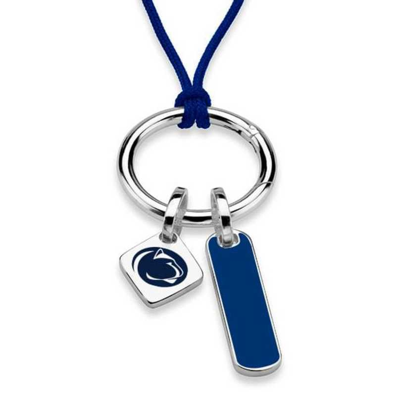 615789312598: Penn State Silk Necklace W/ Enamel Charm & SS Tag