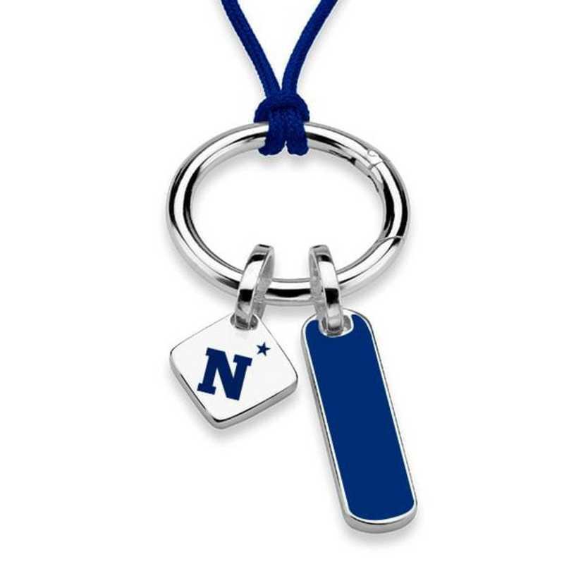 615789319528: US Naval Academy Silk Necklace W/ Enamel Charm & SS Tag