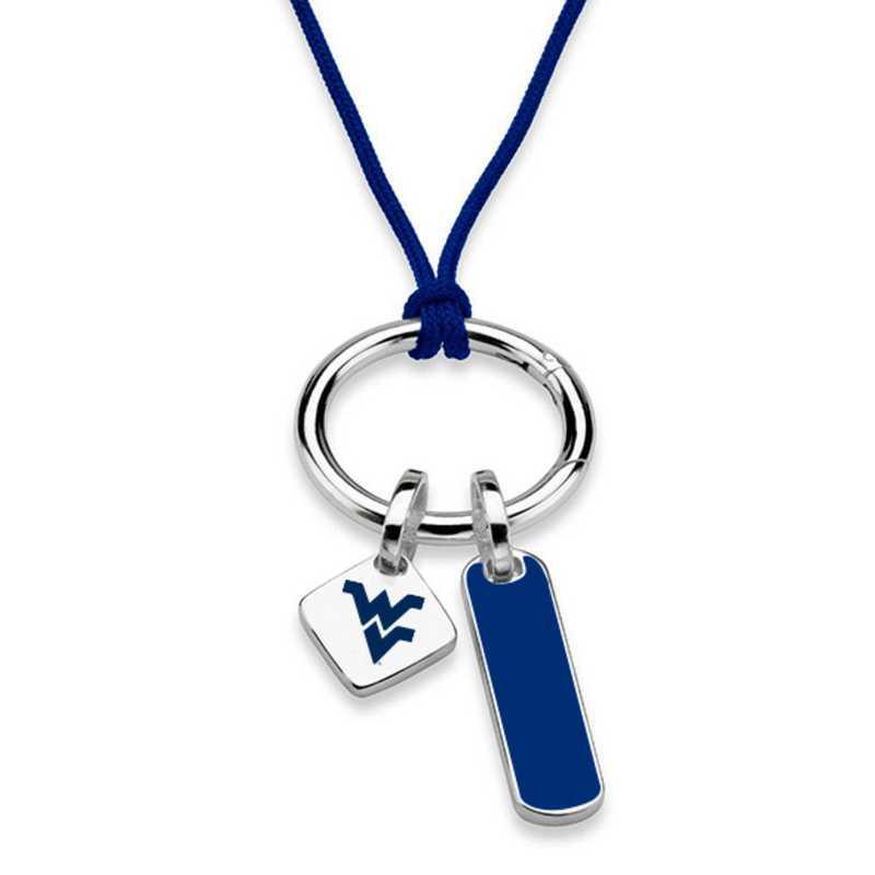 615789381082: West Virginia UNIV Silk Necklace W/ Enamel Charm & SS Tag