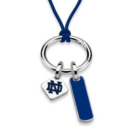 615789456995: UNIV of Notre Dame Silk Necklace W/ Enamel Charm & SS Tag