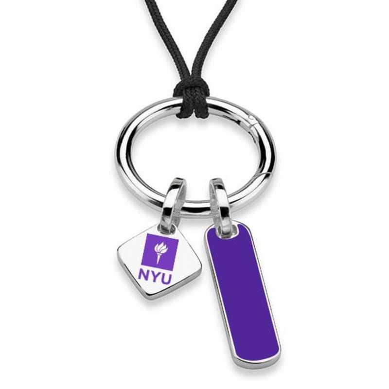 615789655145: New York UNIV Silk Necklace W/ Enamel Charm & SS Tag