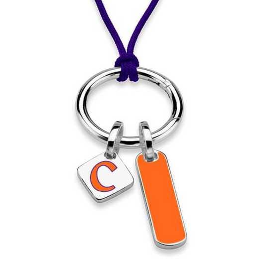 615789741220: Clemson Silk Necklace W/ Enamel Charm & SS Tag