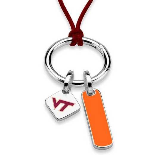 615789937081: Virginia Tech Silk Necklace W/ Enamel Charm & SS Tag
