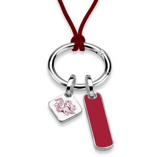 615789951605: UNIV of South Carolina Silk Necklace W/ Enamel Charm & SS Tag
