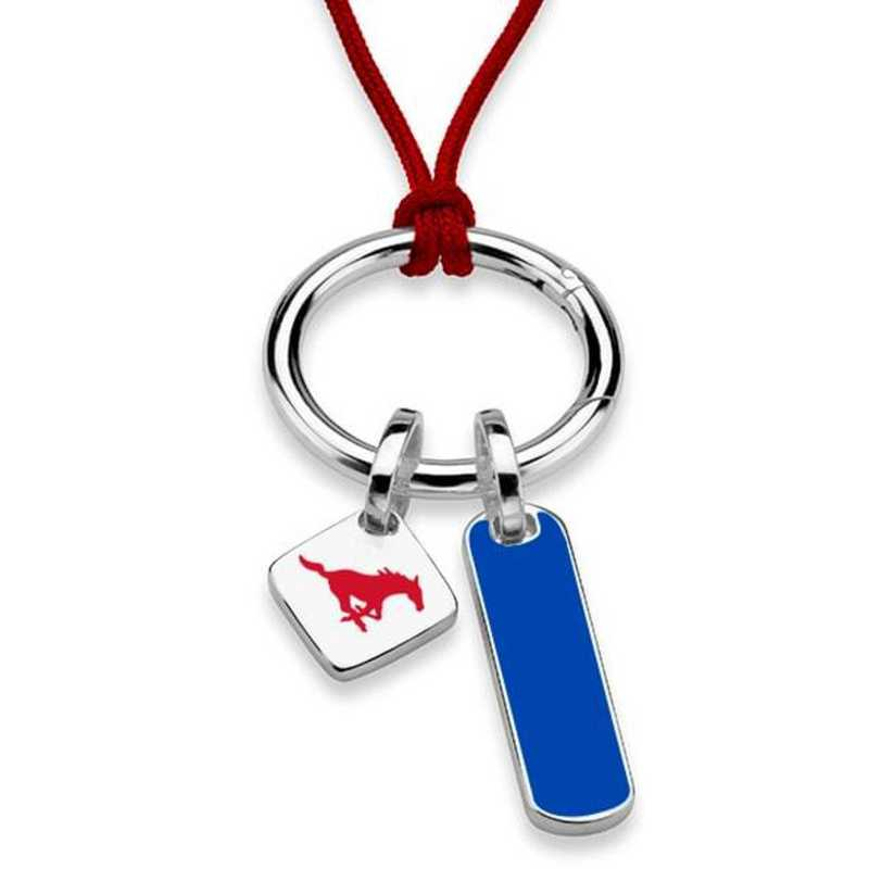 615789966203: Southern Methodist UNIV Silk Necklace W/ Enamel Charm & SS Tag