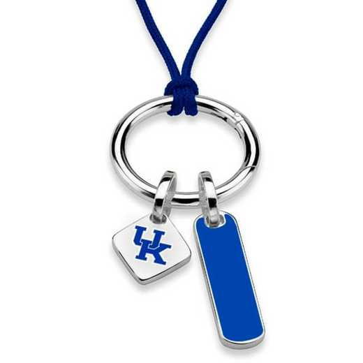 615789975649: UNIV of Kentucky Silk Necklace W/ Enamel Charm & SS Tag