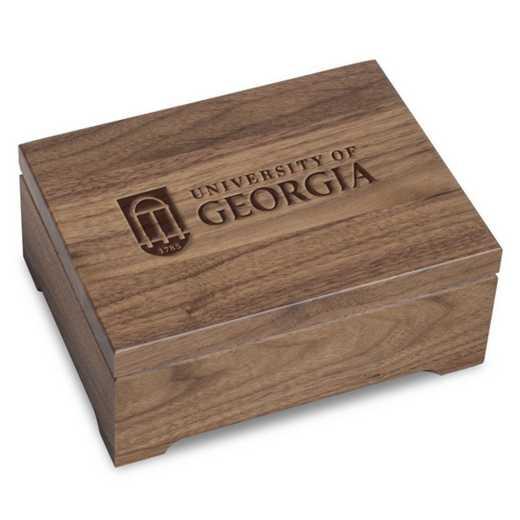 615789044024: University of Georgia Solid Walnut Desk Box