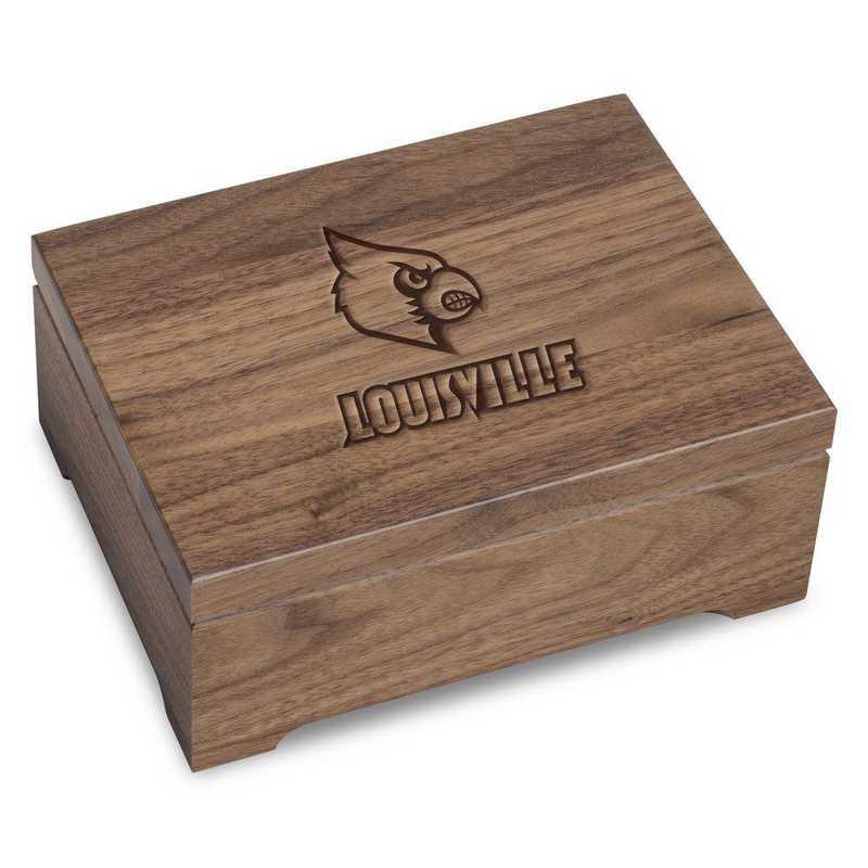 615789083054: University of Louisville Solid Walnut Desk Box