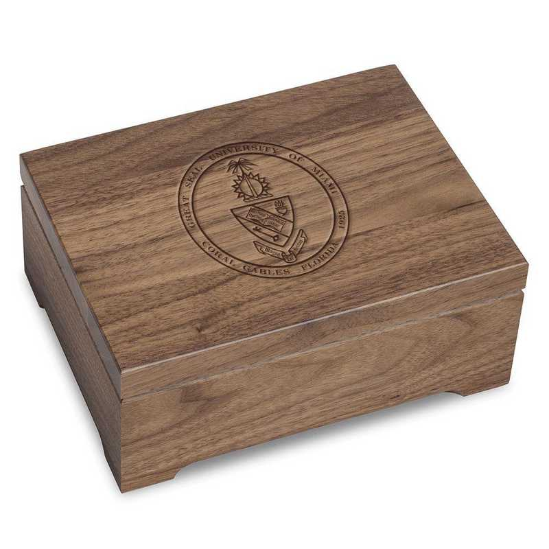 615789104827: University of Miami Solid Walnut Desk Box