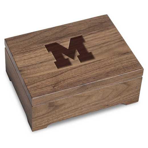 615789114185: University of Michigan Solid Walnut Desk Box