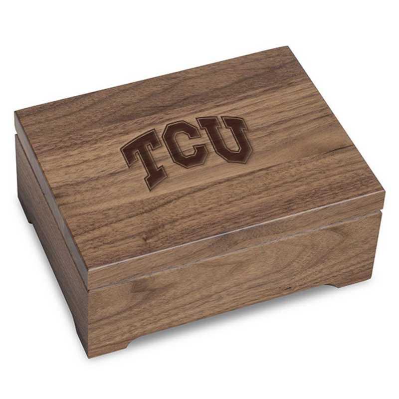 615789161202: Texas Christian University Solid Walnut Desk Box