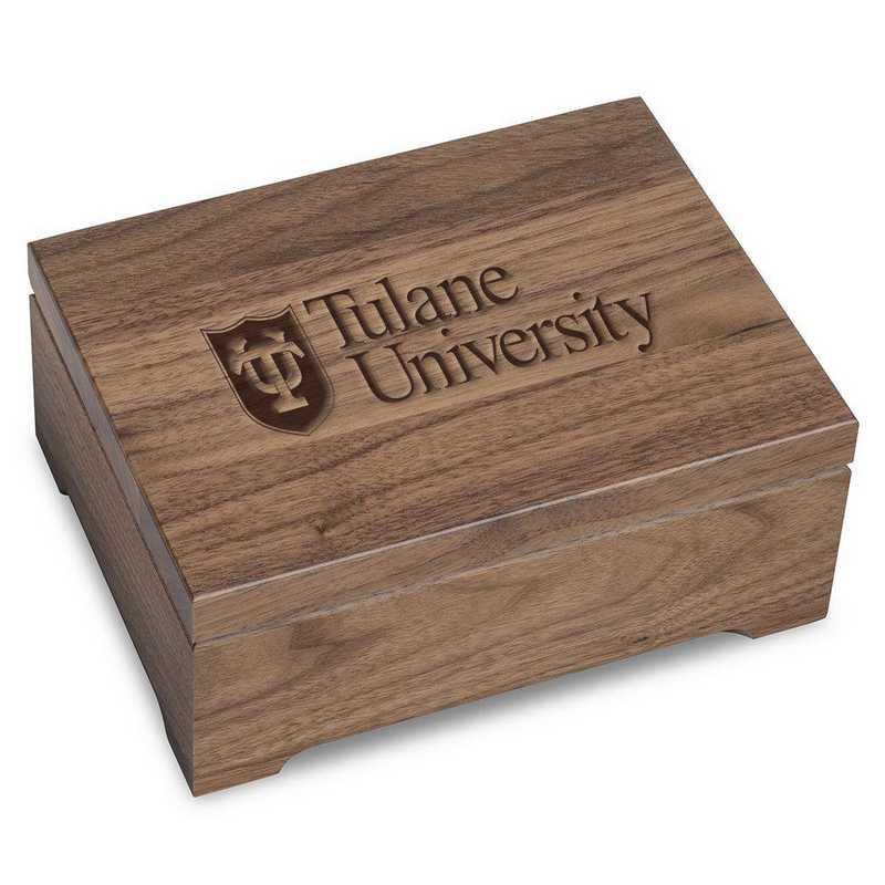 615789218821: Tulane University Solid Walnut Desk Box