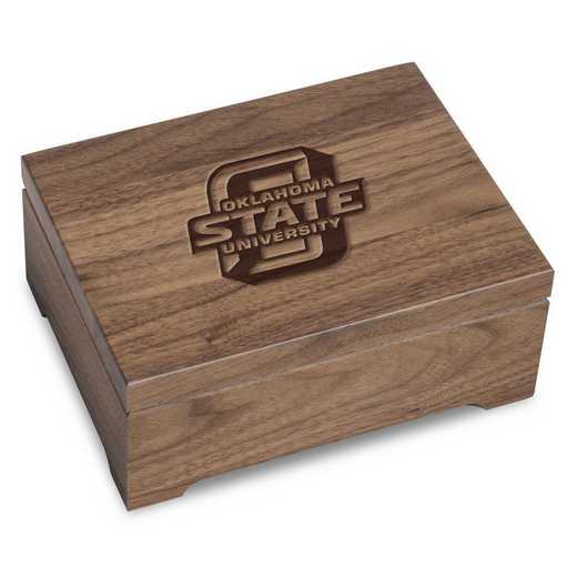 615789235224: Oklahoma State University Solid Walnut Desk Box